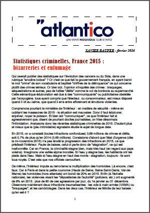 Statistiques criminelles, France 2015 : bizarreries et enfumage