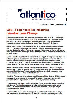 Syrie : l'enfer pour les terroristes – retombées pour l'Europe