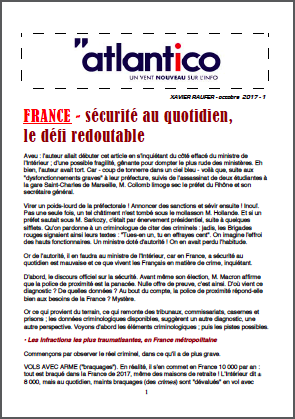 FRANCE – sécurité au quotidien, le défi redoutable
