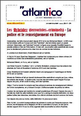 Les 'Hybrides' (terroristes+criminels) – La police et le renseignement en Europe