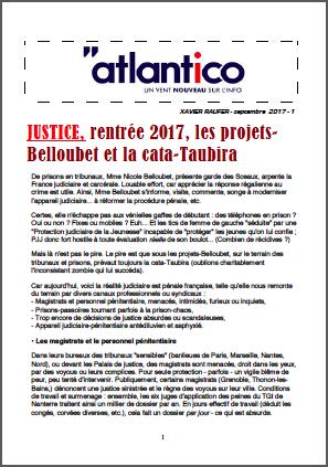 JUSTICE, rentrée 2017, les projets-Belloubet et la cata-Taubira