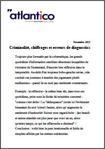 Criminalité, chiffrages et erreurs de diagnostics