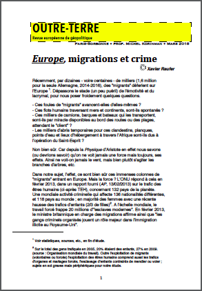 Europe, migrations et crime