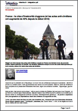 France : la crise d'insécurité s'aggrave (et les actes anti-chrétiens ont augmenté de 40% depuis le début 2016)