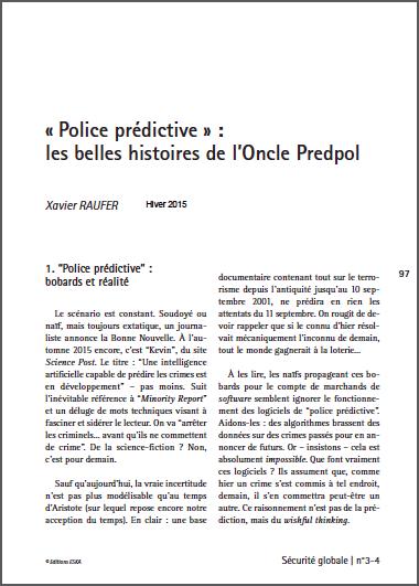 « Police prédictive » : les belles histoires de l'Oncle Predpol