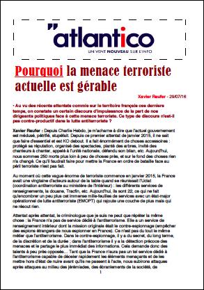 Pourquoi la menace terroriste actuelle est gérable