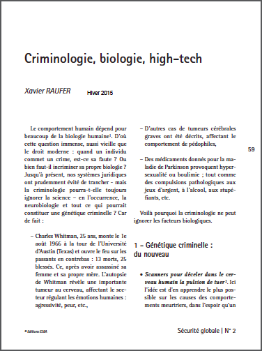 Criminologie, biologie, high-tech