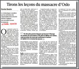 Tirons les leçons du massacre d'Oslo