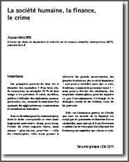 La société humaine, la finance, le crime
