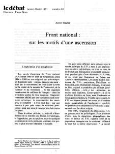 Front National : sur les motifs d'une ascension
