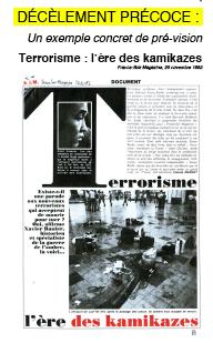 DECELEMENT PRECOCE : Un exemple concret de pré-vision Terrorisme : l'ère des kamikazes