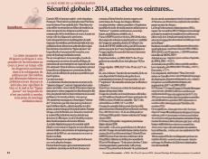 Sécurité globale : 2014, attachez vos ceintures…
