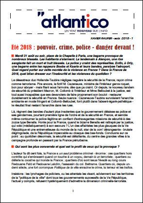 Eté 2018 : pouvoir, crime, police – danger devant !