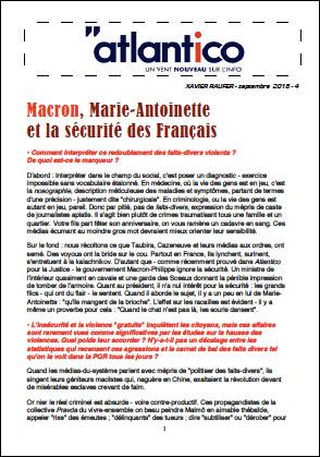 Macron, Marie-Antoinette et la sécurité des Français