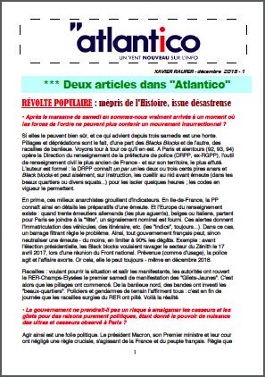 Deux articles dans «Atlantico»