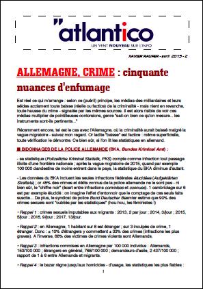 ALLEMAGNE, CRIME : cinquante nuances d'enfumage