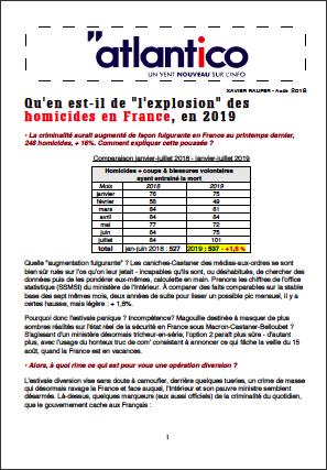 Qu'en est-il de «l'explosion» des homicides en France, en 2019