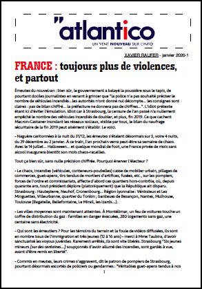 FRANCE : toujours plus de violences, et partout