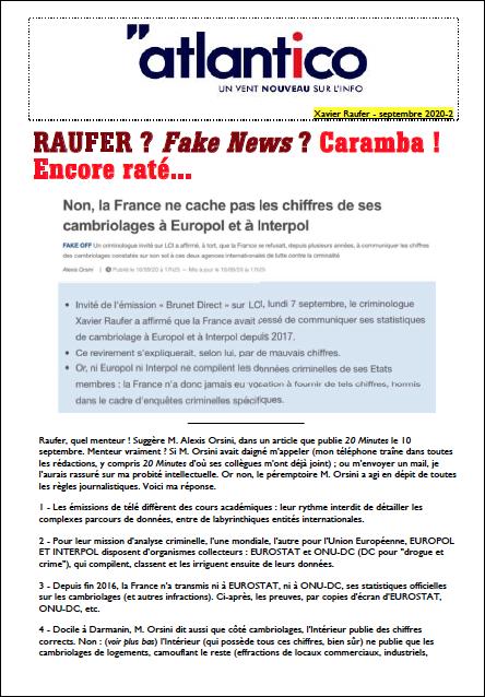 RAUFER ? Fake News ? Caramba ! Encore raté…