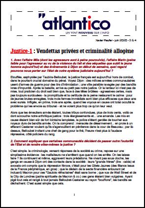 Justice-1 : Vendettas privées et criminalité allogène