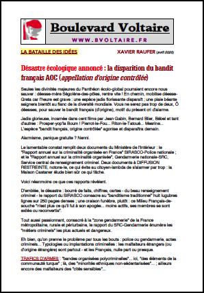 Désastre écologique annoncé : la disparition du bandit français AOC (appellation d'origine contrôlée)