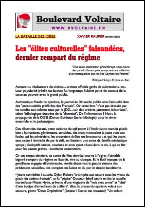 Les «élites culturelles» faisandées, dernier rempart du régime