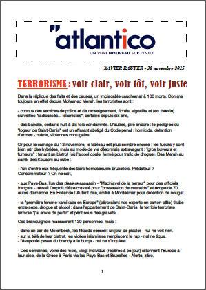 TERRORISME : voir clair, voir tôt, voir juste