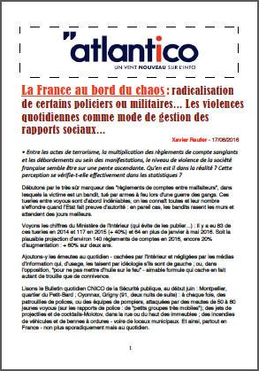 La France au bord du chaos : radicalisation de certains policiers ou militaires… Les violences quotidiennes comme mode de gestion des rapports sociaux…