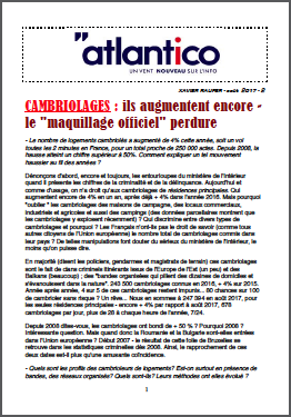 CAMBRIOLAGES : ils augmentent encore – le « maquillage officiel » perdure