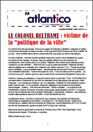 LE COLONEL BELTRAME : victime de la «politique de la ville»