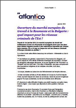Ouverture du marché européen du travail à la Roumanie et la Bulgarie : quel impact pour les réseaux criminels de l'Est ?