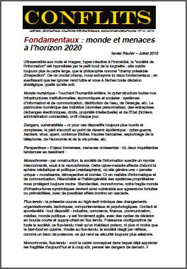 Fondamentaux : monde et menaces à l'horizon 2020