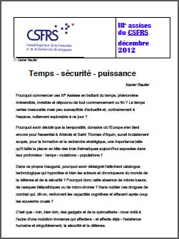 IIIe assises du CSFRS – Temps – sécurité – puissance