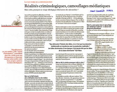 Réalités criminologiques, camouflages médiatiques