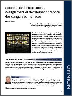 """""""Société de l'information, aveuglement et décèlement précoce des dangers et menaces"""""""