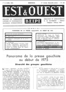 Panorama de la presse gauchiste au début de 1975