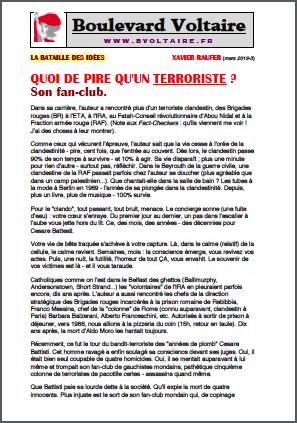 QUOI DE PIRE QU'UN TERRORISTE ? Son fan-club.