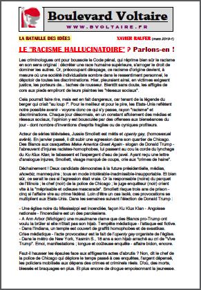 LE «RACISME HALLUCINATOIRE» ? Parlons-en !