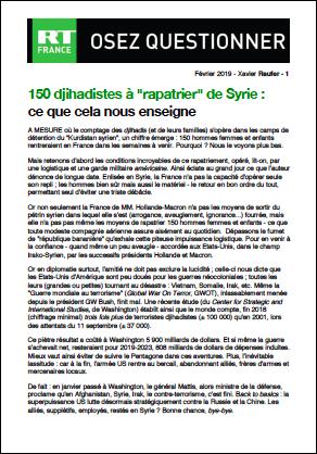 150 djihadistes à «rapatrier» de Syrie : ce que cela nous enseigne