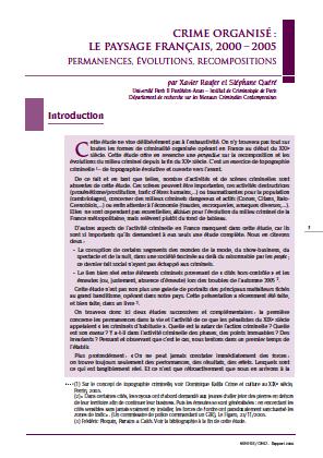 Crime organisé : le paysage français, 2000 – 2005