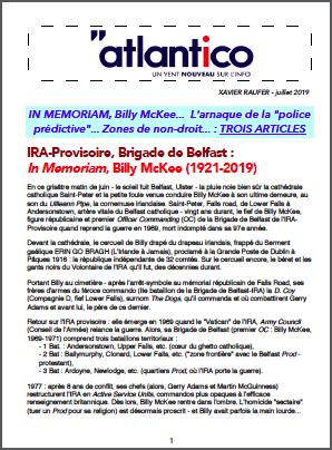 IN MEMORIAM, Billy McKee… L'arnaque de la «police prédictive»… Zones de non-droit… : TROIS ARTICLES