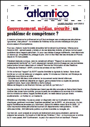 Gouvernement, médias, sécurité : un problème de compétence ?