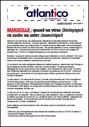 MARSEILLE : quand un virus (biologique) en cache un autre (numérique)