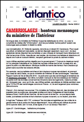 CAMBRIOLAGES : honteux mensonges du ministère de l'Intérieur