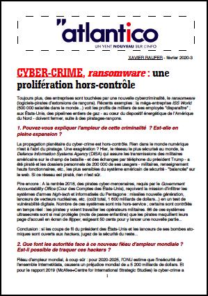 CYBER-CRIME, ransomware : une prolifération hors-contrôle