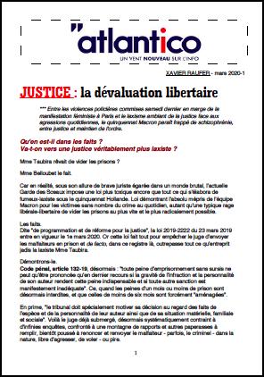 JUSTICE : la dévaluation libertaire