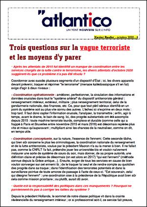 Trois questions sur la vague terroriste et les moyens d'y parer