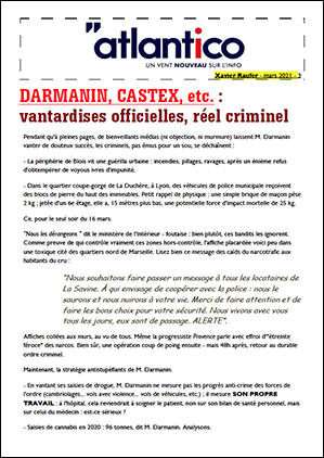 DARMANIN, CASTEX, etc. : vantardises officielles, réel criminel