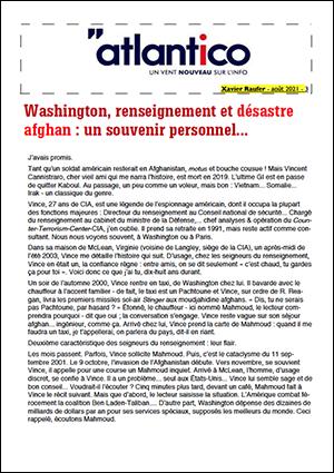 Washington, renseignement et désastre afghan : un souvenir personnel…