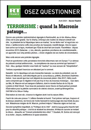 TERRORISME : quand la Macronie patauge…